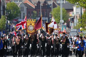 Apprentice Boys of Derry Easter Monday parade in Belfast.  The main parade makes its way up the Holywood Road in east Belfast where it stopped on the Belmont Road for a religious service at a war memorial before carrying on.