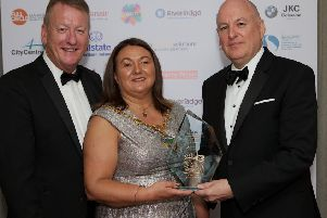 Mayor Michaela Boyle presents the NW Overall Business/Entrepreneur of the Year award to John Harkin, Alchemy Technology Services at the 2019 NW Business Awards held in the White Horse Hotel. Included on left is Jim Roddy, chief executive, CCI. (Photo - Tom Heaney, nwpresspics)