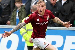 Nicky Adams celebrates scoring in the Cobblers' 2-2 draw with Brisol Rovers in 2016