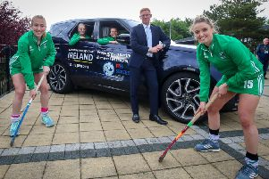 Sarah Hawkshaw, Hannah Matthews, Deirdre Duke and Gillian Pinder from the Ireland ladies team join Alan Thompson, Head of Business at Charles Hurst Jaguar Land Rover