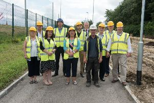 Mayor of Derry City and Strabane District Council, Cllr. Michaela Boyle, with officials from the Department for Communities, the council, community sector and elected representatives, at a site visit to view progress on the Clooney Greenway project last week.