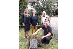 Jenny Ireland with Henry Ison and Sons Funeral Directors of Kenilworth, Town Cllr Kate Dickson, local historian Graham Gould and Guy Wright, with stonemason G H Davies & Son.