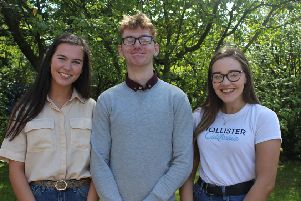 Three of the four Loreto College students who achieved three A* grades or better in the Summer 2019 A Levels