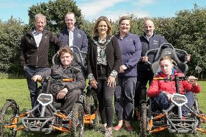 At the launch of All Out Trekking at 'Gosford Forest Park, Markethill, are (front from left): Nathan McCabe;  Lord Mayor of Armagh, Banbridge and Craigavon Mealla Campbell and Andrew Greer. (Back from left): Tony Murphy Sport Branch Dept of Communities; Kevin O'Neill, Disability Sport NI; Jayne Moore, Sport NI and Michael McAteer, Disability Sport NI.'Picture: LiamMcArdle.com