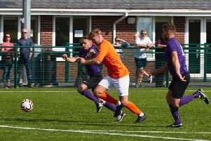Tom Rawlings on his way to a hat-trick