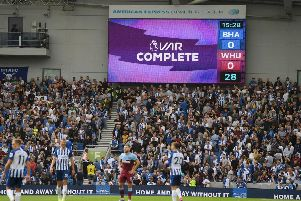 Brighton's Leondro Trossard's goal is checked and later disallowed following a VAR check earlier this month against West Ham. Picture: Mike Hewitt/Getty Images
