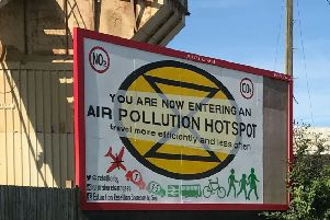 Extinction Rebellion puts up air pollution signs in Shoreham