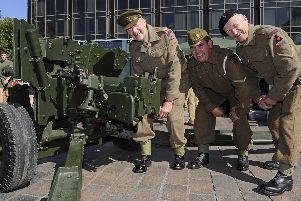 The Pompey Pals charity has held it's fourth annual commemoration in Guildhall Square including a remembrance service at the Cenotaph. From left, re-enactors, Roger Glancefield, Richard Salter, and Bob Ansell. Picture: Ian Hargreaves  (140919-4)