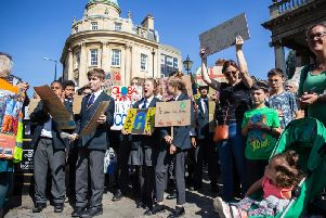 Northampton International Academy students joined the protest after walking from school to meet other activists in town.