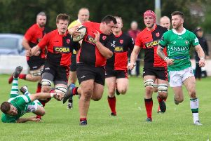 Ben Dawes with Wes Hallam and Sam Thompson in support in Saturday's win at Sutton Coldfield  PICTURES BY STEVE SMITH