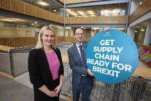 Mary Meehan, Manufacturing NI, and Dr Trevor Cadden, Ulster University