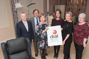 ictured at the launch of the Design Assisted Living Centre at North West Regional College are Dr Aaron Peace CEO, CTRIC, Leo Murphy, chief executive and principal NWRC, Geraldine Lavery, department head of health and sports at NWRC, Sarah Travers, MC, Vonnie McWilliams, DIAL centre manager, and Geraldine Grieve, RNIB. (Picture Martin McKeown).