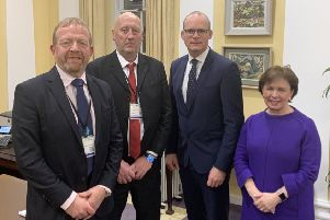 From left, Ken Funston (SEFF), John Sproule, Irish Foriegn Minister Simon Coveney and DUP MEP Diane Dodds pictured after their meeting in Dublin to discuss alleged Garda-IRA collusion in the murder of John's brother, Ian.