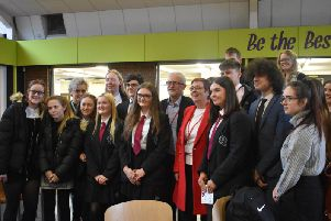 Mr Corbyn and, to his right, Debbie Bannigan, met with pupils and staff at Bilton School.