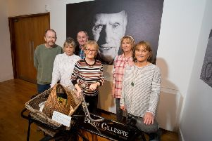 Pat Gillespie's sons Joe and Pascal are pictured with their sisters Madeline, Anne, Jean and Evelyn at the special event marking the hand over of  artefacts donated by the Gillespie family to Derry City & Strabane District Council. Missing from the photograph are their siblings Betty and John. (PIC SUBMITTED)