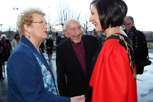 Mrs Thelma Mehaffey and Rt Rev Dr James Mehaffey pictured with the then Mayor of Derry, Colr..Brenda Stevenson in March 2015.