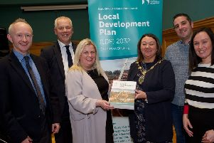 Mayor of Derry City and Strabane District, Councillor Michaela Boyle, pictured launching the Draft Local Development Plan 2032 at the Guildhall in December. Included are Proinsias McCaughey, Principal Planning Officer, John Kelpie, Chief Executive, Derry City & Strabane District Council, Maura Fox, Council's Head of Planning, Cllr Christopher Jackson, Chair of the Planning Committee and Karen Phillips, Director of Environment and Regeneration (Photo - Tom Heaney, nwpresspics)