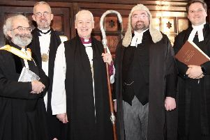 The Revd Robert Marshall, Dean Dermot Dunne, Archbishop Michael Jackson, Ciara�n Toland SC and the Revd Stephen Farrell at the installation of Ciara�n Toland as Diocesan Chancellor. Pic courtesy of United Dioceses of Dublin & Glendalough/Church of Ireland
