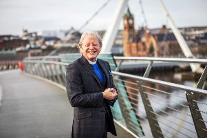 Rev. David Latimer on Derry's Peace Bridge ahead of his official retirement. Photo: Tony Monaghan Photography.