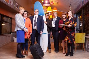 From left - Mary O'Driscoll Chair Glens Cluster; Siobhan McKenna Trade Engagement Officer Causeway Coast & Glens Borough Council; Norman McBride Chair of Gobbins Cluster; Andrew Hill Troggs Surf Shop; Ann Donaghy Chair of Causeway & Binevenagh Cluster; Joanne McLaughlin Economic Development Officer Causeway Coast & Glens Borough Council; Kelli Bagchus Facilitator Causeway Coastal Route Cluster
