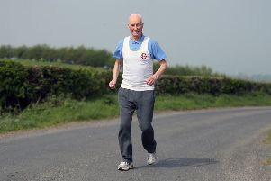 File photo dated 18/04/19 of London Marathon Ever Present runner Ken Jones at his home in Strabane Co. Londonderry. PA Photo. Issue date: Tuesday February 4, 2020. See PA story SPORT Marathon. Photo credit should read: Niall Carson/PA Wire