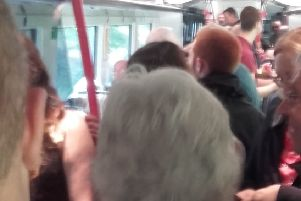 Commuters on the Derry to Belfast service on May 17.