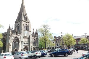 Sleaford Market Place and St Denys' Church. EMN-180705-134616001