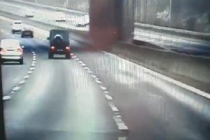 A still from the dashcam footage