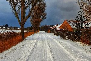 There is a Yellow Warning for snow and ice across the East Midlands today. Thank you Julie Sadler for this picture taken near Skegness. ANL-190129-082352001