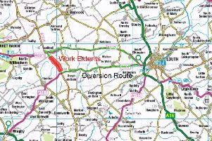 Work will be carried out next month on the B1225 Caistor High Street between Ludford and Burgh on Bain, as highlighted.