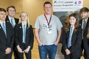 Brian Burns, from the Amy Winehouse Foundation and Addaction, gave a talk to students and held a series of workshops. Brian is pictured alongside Year 10 students James Haile, Louie Hawkins-Ney, Hayley Borland, Katie Lester, Connor Wilson, and Ellie Gowling.