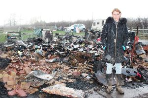 Emma Stott at the scene of the fire on Wednesday.