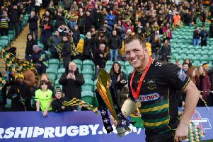 Alex Waller was all smiles after lifting the Premiership Rugby Cup at Franklin's Gardens on Sunday afternoon