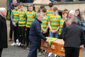 The''funeral of 16-year-old Connor Currie at St Malachy's Church in Edendork, Co. Tyrone.  Connor died along with Morgan Barnard (17) and 17-year-old Lauren Bullock after an incident at the Greenvale Hotel in Cookstown on St Patrick's night. ''Photo: Jonathan Porter/PressEye.com
