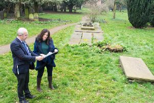 Chris Worman MBE, Rugby Borough Council's parks and grounds manager, discusses the draft masterplan for the revamp of St Andrew's Gardens with Cllr Lisa Parker, the council's portfolio holder for environment and public realm.