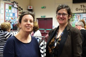 Vanessa Blakey, Friends of the School's chairperson, pictured left,  and Vicky Ross, headteacher,  at Alford Primary School's Fashion Show.