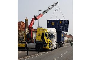 The crane in difficulty. Pic: Adur and Worthing Police