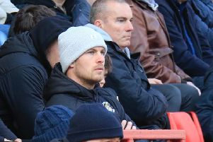 James Collins watches on against Charlton