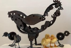 Helen Denerley, Hen and Chicks, scrap metal H 40cm MONCRIEFF-BRAY GALLERY