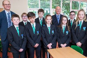 Year 7 Students at Louth Academy Lower Campus have settled in well to their new classrooms. They are pictured in one of the new Science Labs. (Left to right) Martin Brown (Executive Principal, Louth Academy) Ben Weston-Tottam, Molly Clements, Elliott Barton, Ellis Harkness, Kira Chamberlain, David Hampson  OBE (TMAT Chief Executive), Paige Harriman, James Cohen, Isabelle Mitchell,