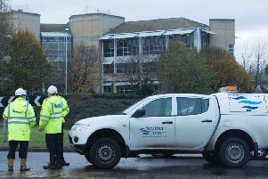 Staff outside Southern Water's Worthing headquarters. Picture: Eddie Mitchell