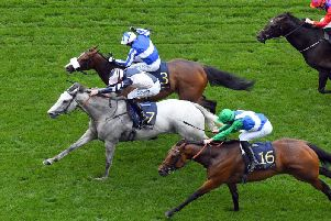 Lord Glitters leads in the Queen Anne Stakes / Picture by Malcolm Wells