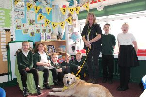 Angus visited Lacey Gardens Junior Academy earlier this year, where he was congratulated on his return to Crufts