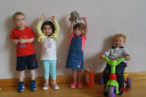 From left to right, James Campbell age 3. Esme-Rose McMaster age 3, Lyla- Rose Beggs age 3 and Jonathan Acheson age 3 pictured before their graduation