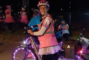 Annie had pink lights for her bike.
