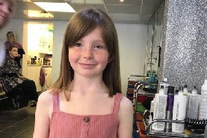 Callie Bainbridge after her charity haircut.