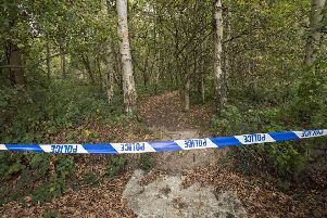 Police cordoned off the scene at Roughton Woods. (October 2017)