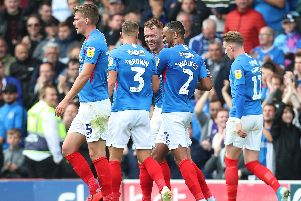 Pompey celebrate Tom Naylor's goal Picture: Joe Pepler
