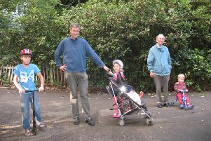 Peter Farquhar (pictured second right) with Richard Searby and his children
