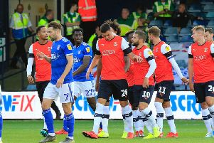 Lloyd Jones gets the congratulations after opening the scoring against Ipswich